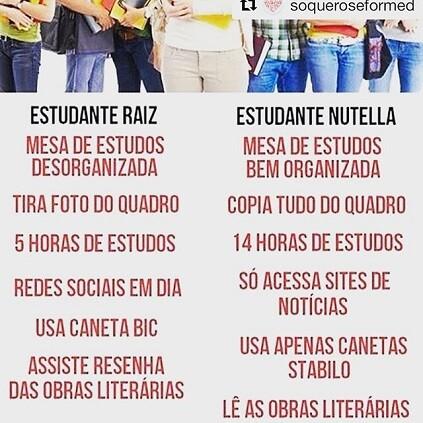 Estudante Raiz x Estudante Nutella