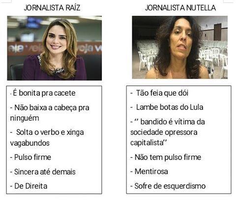 Jornalista Raiz x Jornalista Nutella