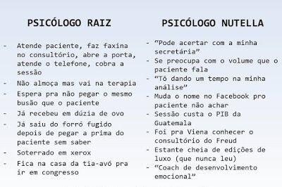 Psicólogo Raiz x Psicólogo Nutella