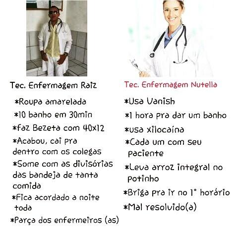 Técnico Enfermagem Raiz x Técnico Enfermagem Nutella